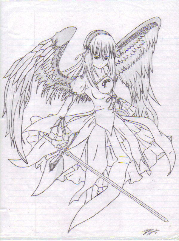 600x809 anime angel girl by sharonsezrawr on deviantart