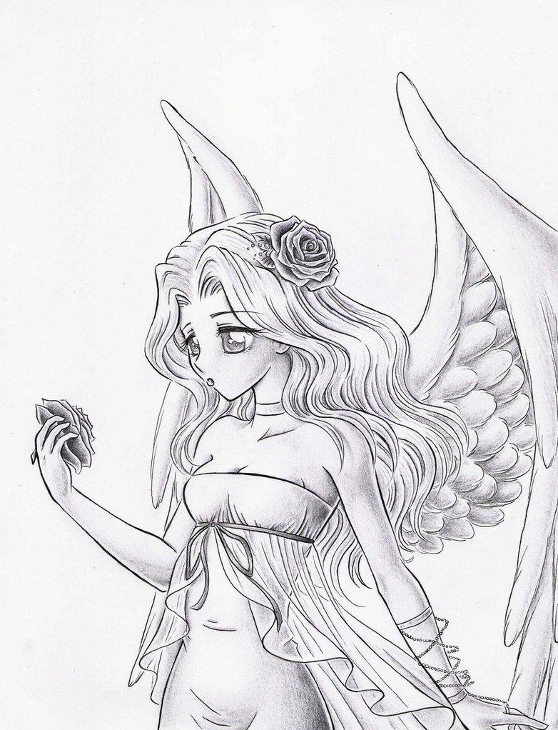 782x1022 White Angel Sketch By ~dayserosi On Malen Manga