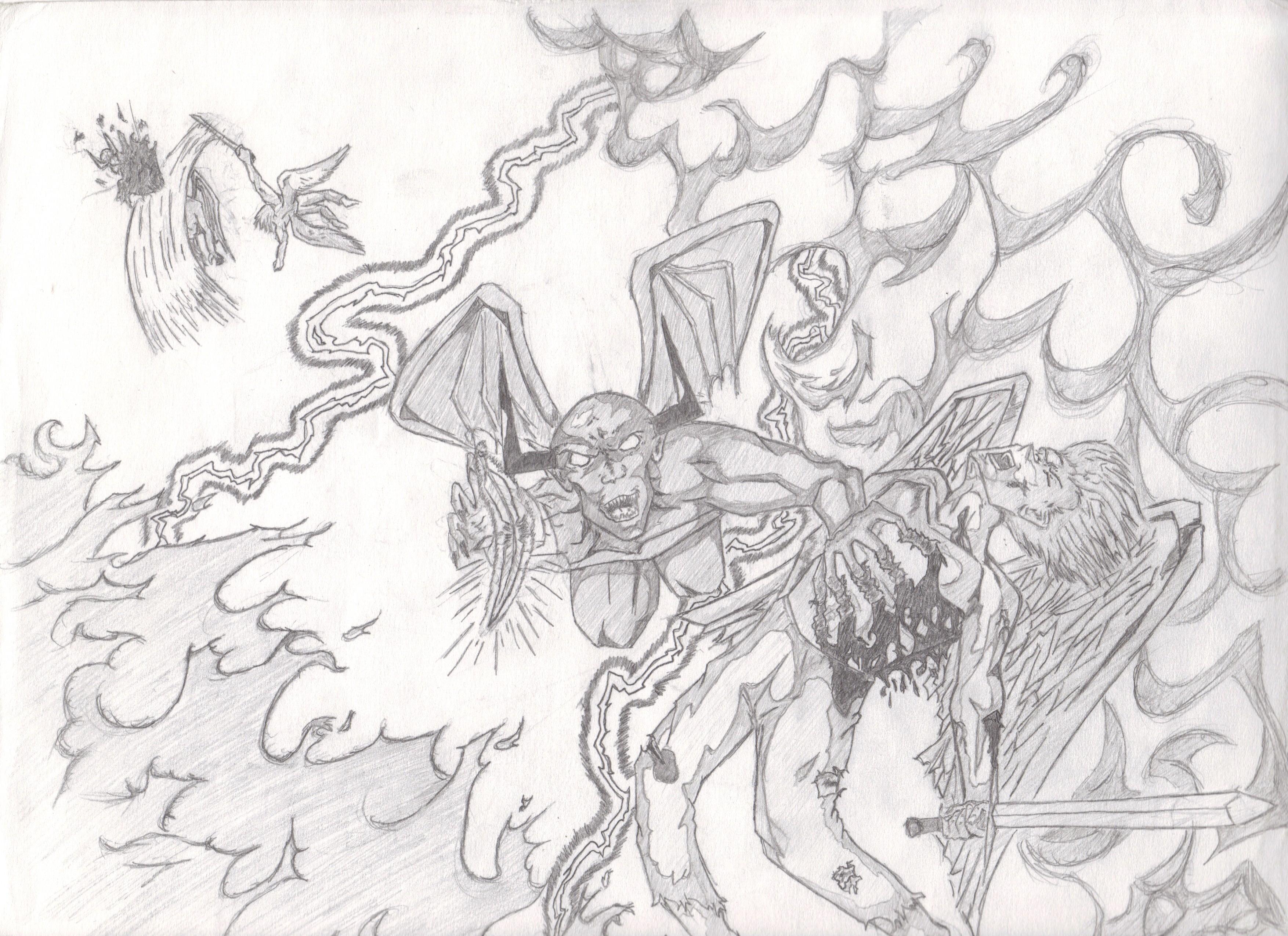 3508x2550 Angel Demon Battle By Leonhart1342