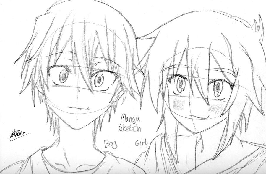 900x591 Manga Boy And Girl Sketch By Flashtheteddy