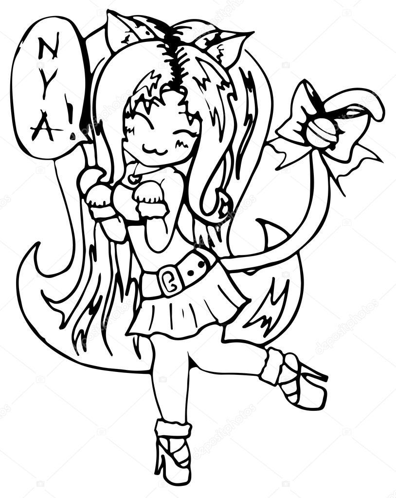 814x1023 Monochrome cat girl anime manga kawaii cartoon vector isolated