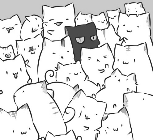 495x453 Cat Lol Drawing Art Funny Cute Black And White Anime Kawaii White