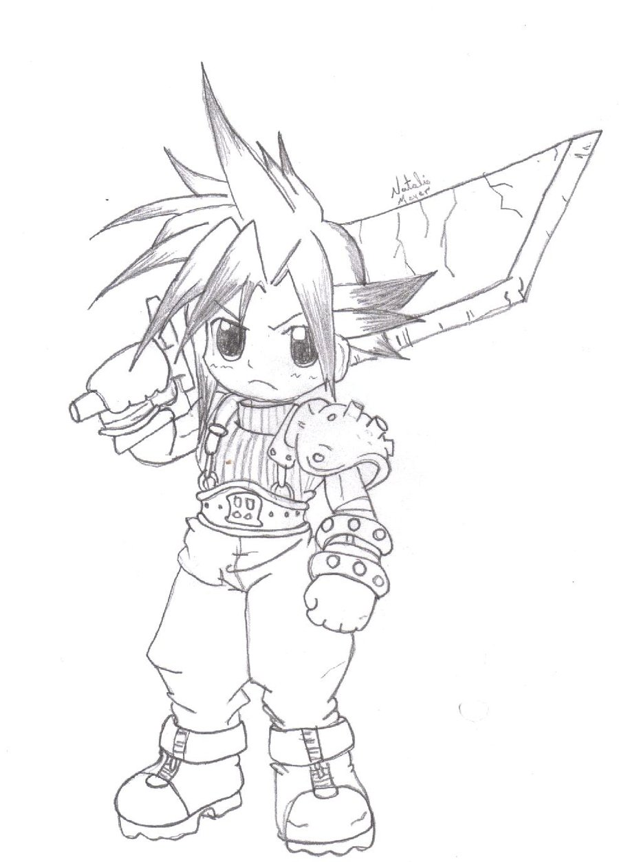 900x1253 Cloud Chibi Drawing By Icandycum