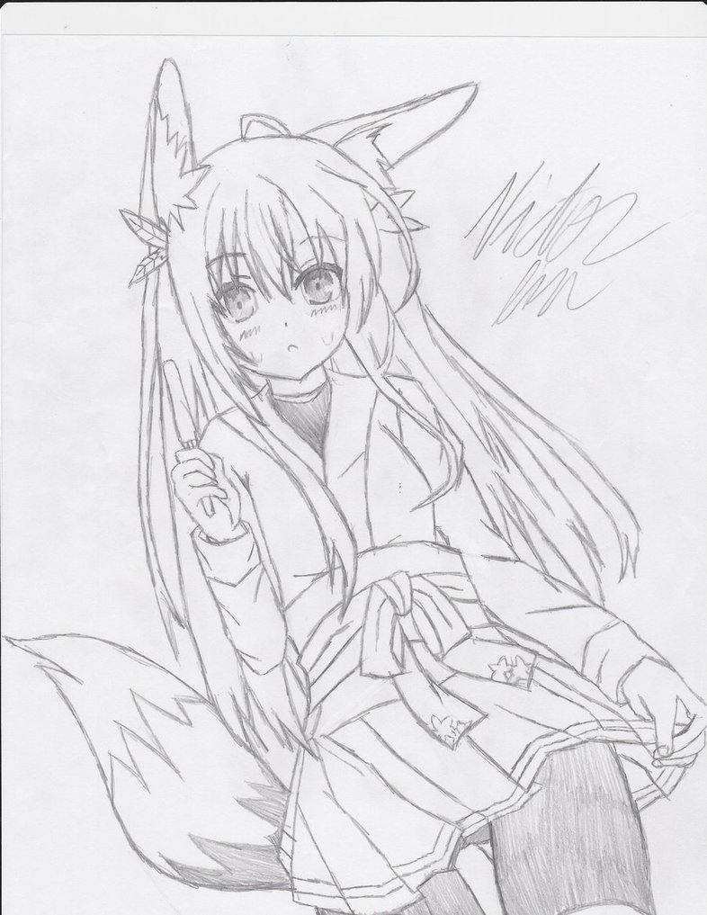 786x1017 Fox Girl Drawing By Fadelesswolf
