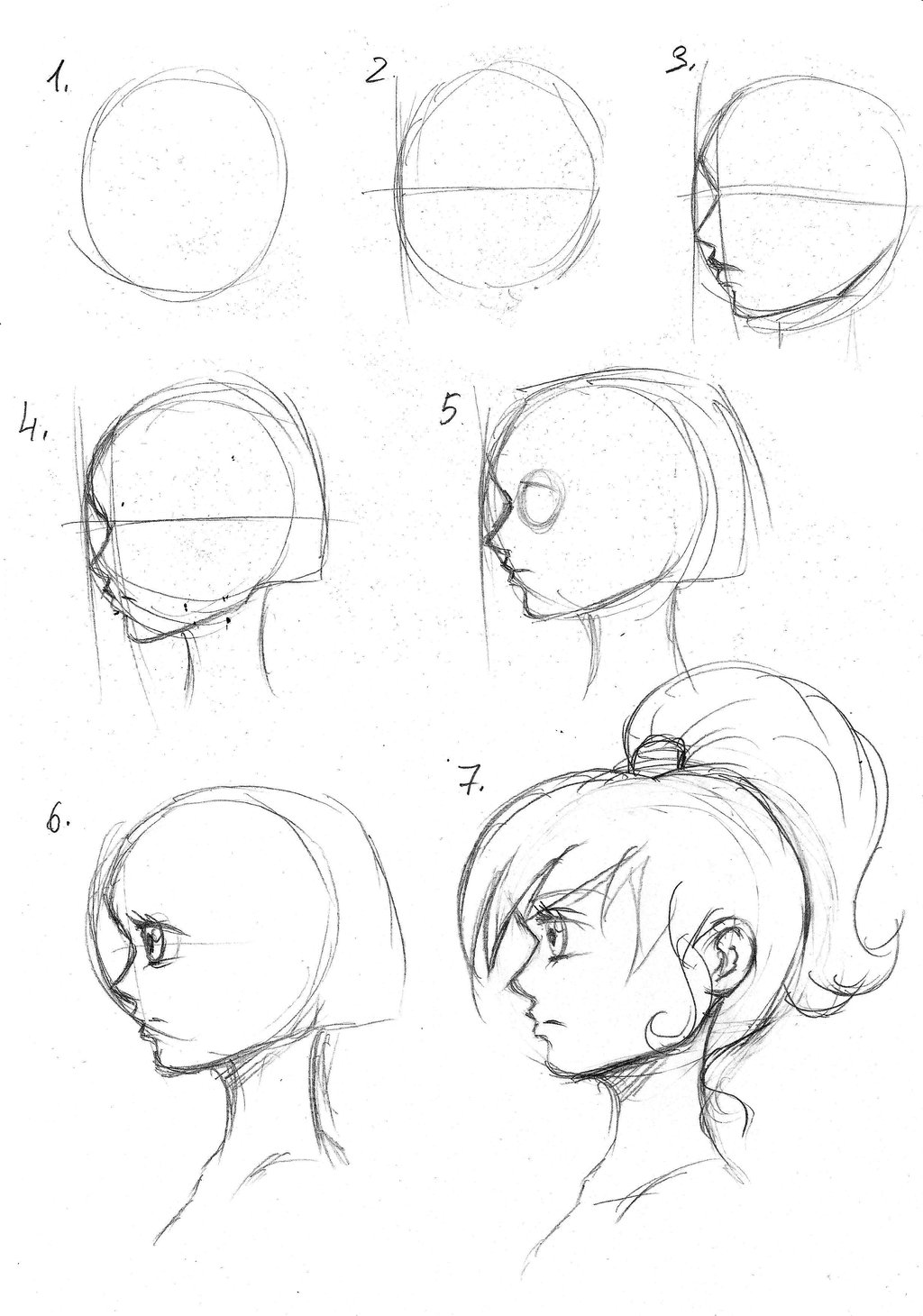 1024x1460 Tutorial For Drawing Manga Head By Radian The Art