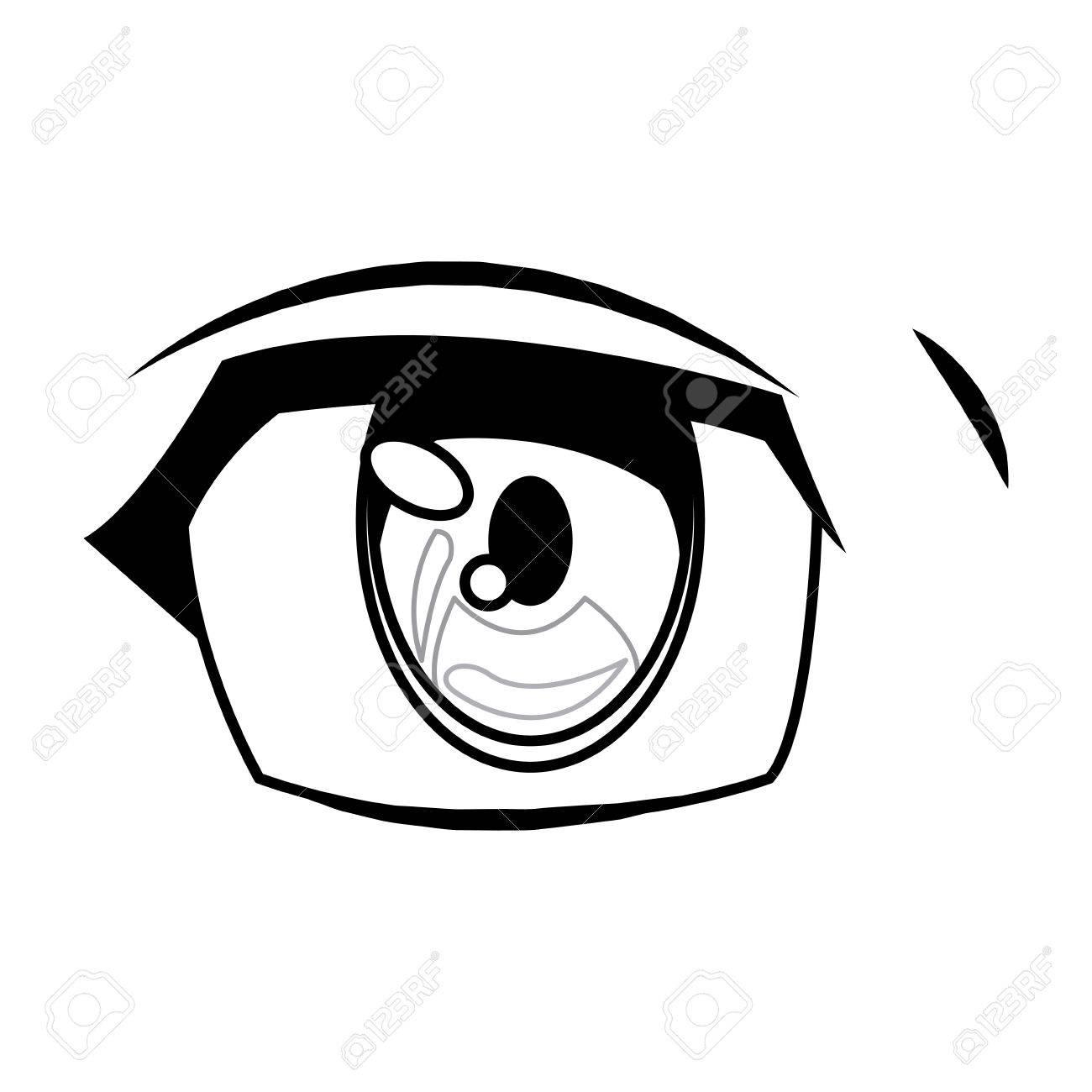 1300x1300 Anime Eye Manga Comic Expression Image Vector Illustration Royalty