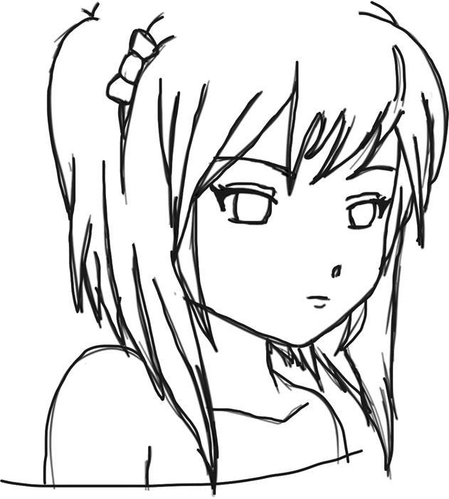 631x700 Photos Easy Line Drawing Anime,