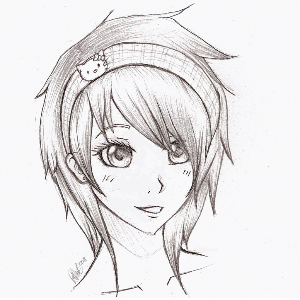 1024x1024 Draw Anime Girl Face Draw Girl Face And Hair In Cute Style How