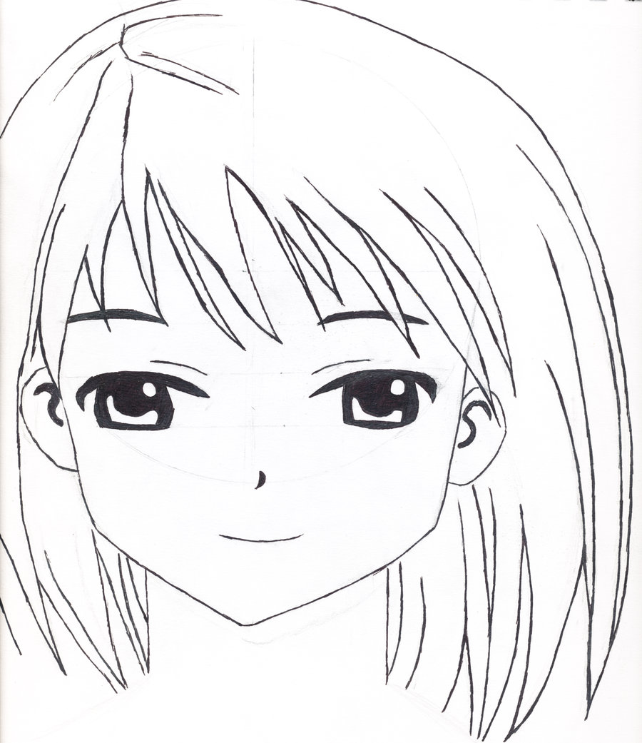 900x1041 Manga Female Face Front View By Squrenerd