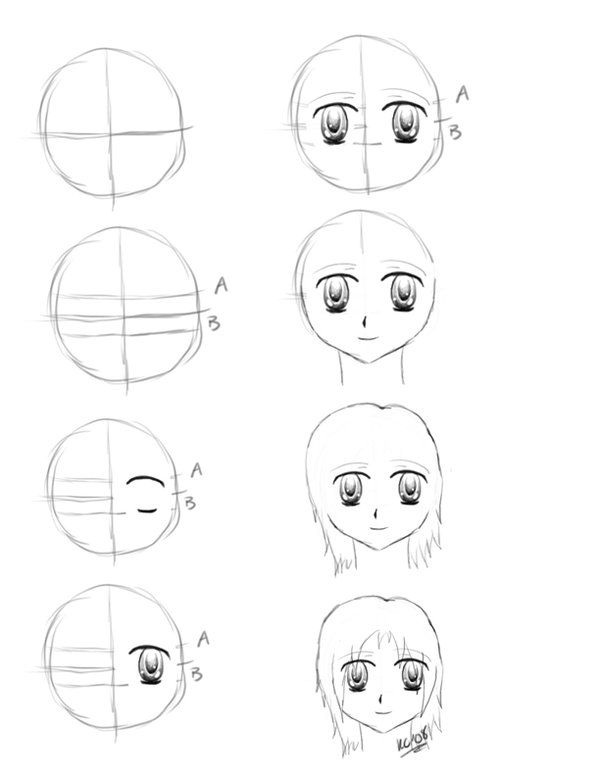 600x776 100 how to draw anime faces easy
