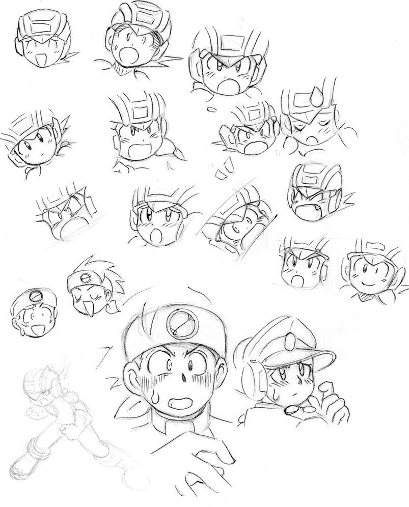 803x996 Megaman Manga Faces By Ick25