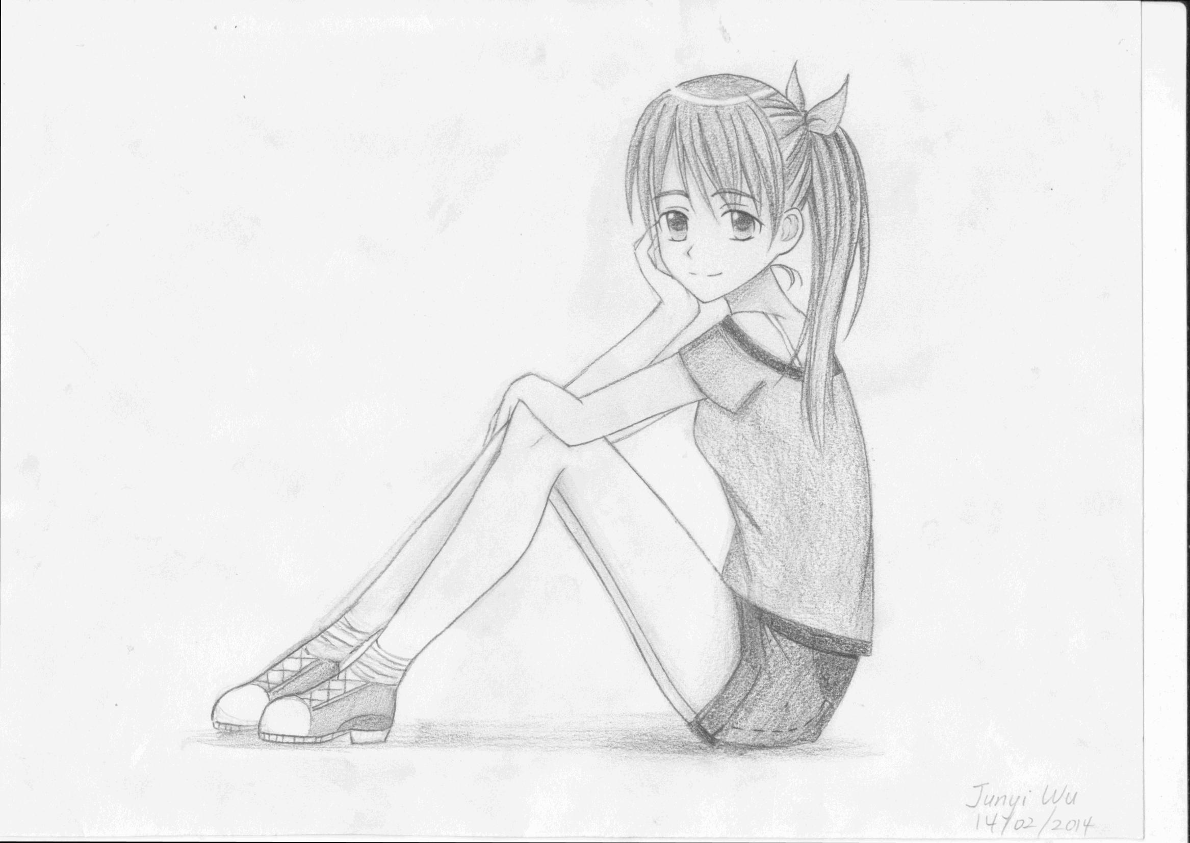 2334x1653 Girl Sitting Sketch Drawing Manga Girl Sitting Poseanime