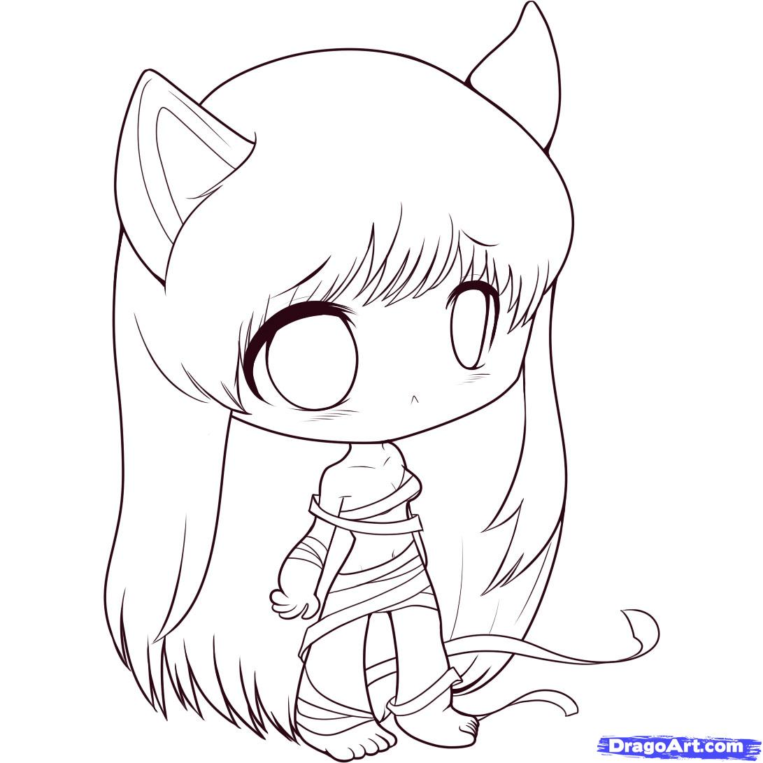 1091x1091 Dragoart Anime Coloring Girl By Step Chibis Draw Chibi Japanese