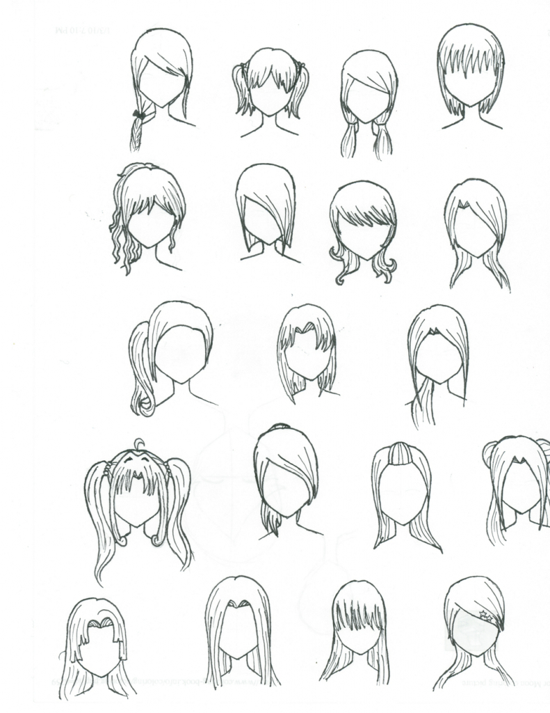 791x1024 How To Draw Manga Hair Step By Step