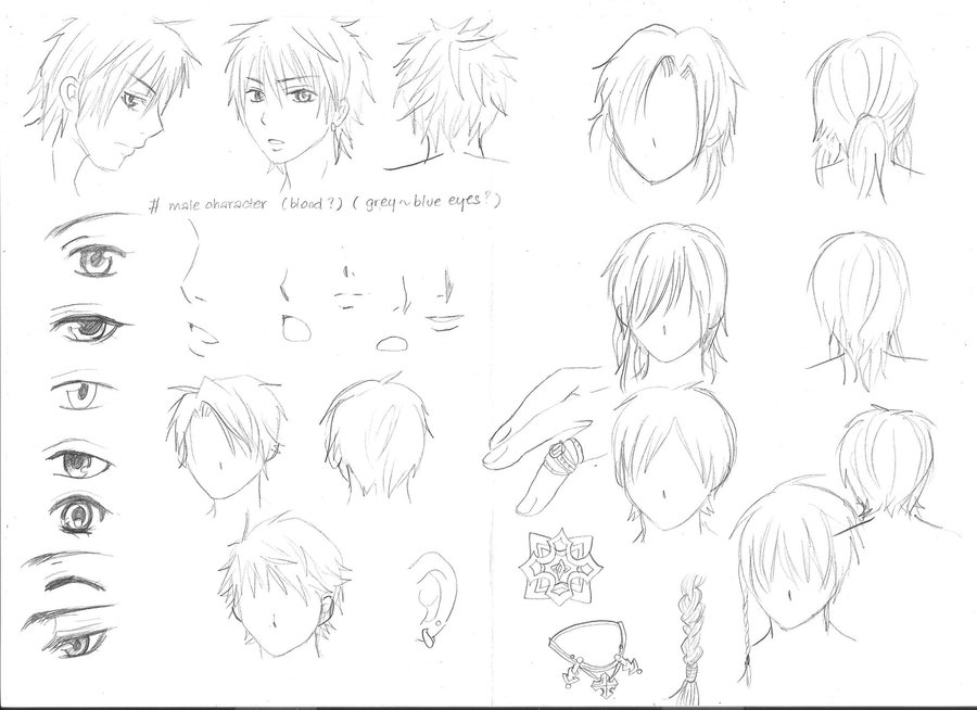 900x654 Various Sketches Of Male Manga Characters By Yoolin