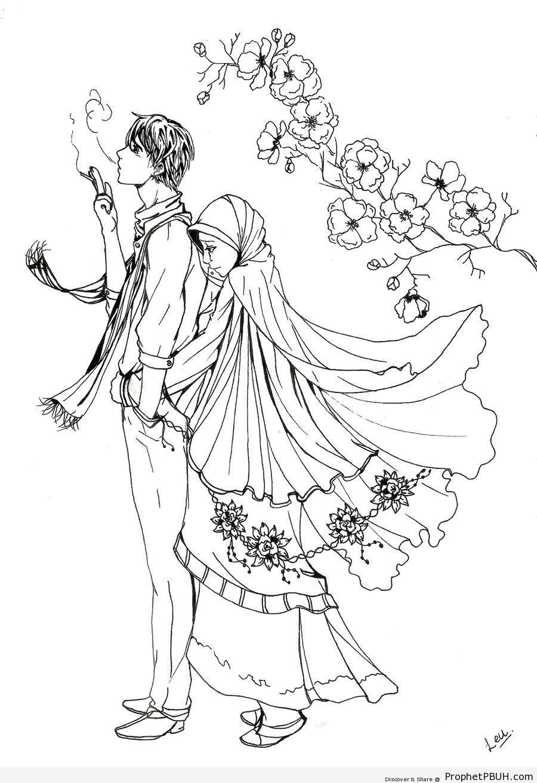 900x1313 Muslim Couple (Manga Amp Anime Style Line Drawing) Drawings