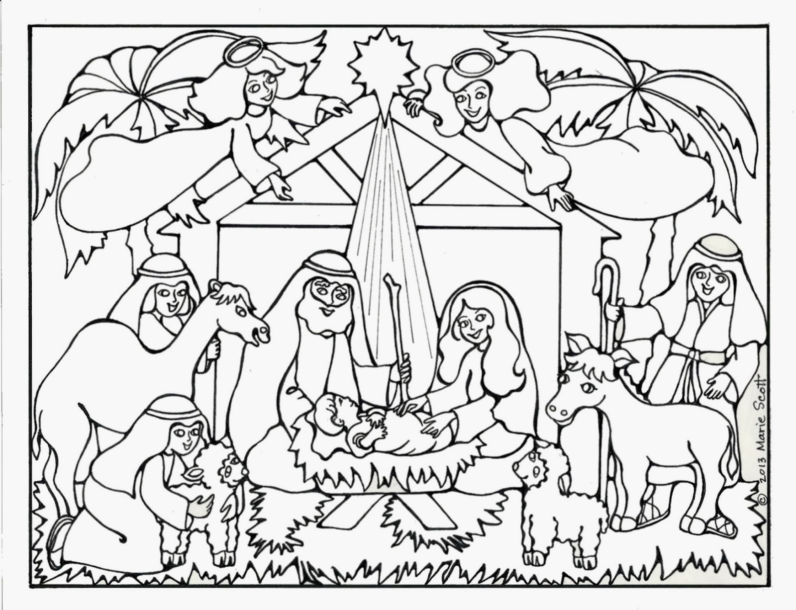 1600x1227 Manger Scene Coloring Page Preschool In Humorous Draw Print Kids