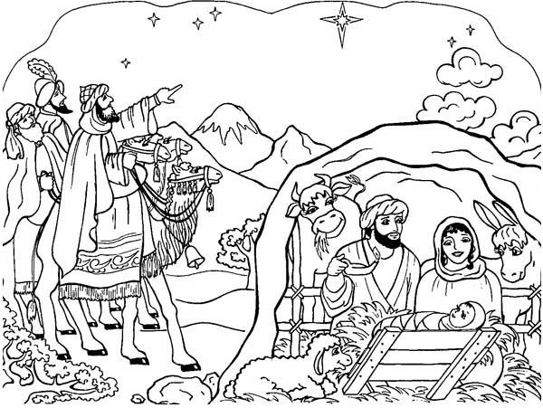 600x451 Nativity Scene Coloring Page Color Luna