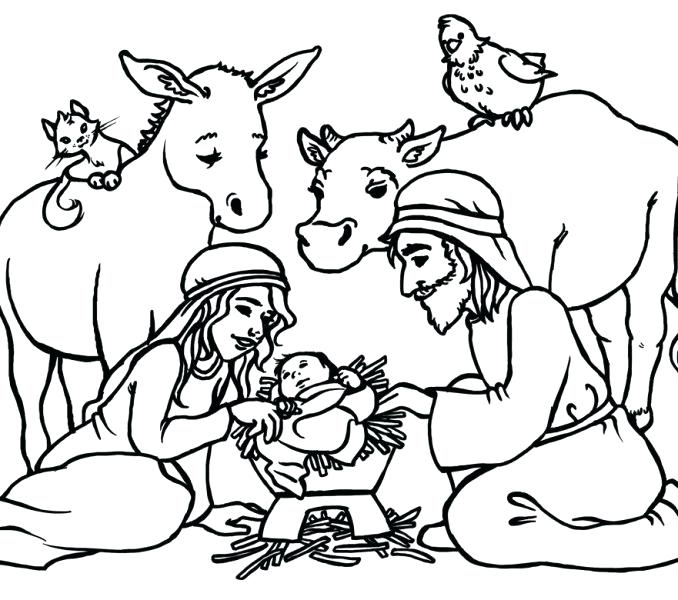 678x600 Nativity Scene Coloring Page Nativity Scene Coloring Pages