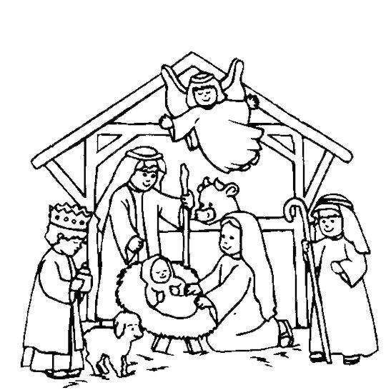 540x546 Nativity Scene Coloring Pages Free Kids Crafts