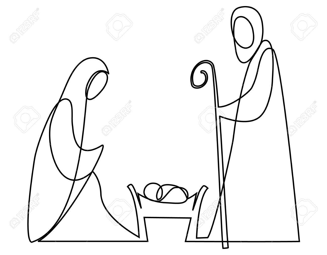 1300x1011 Nativity Scene With Holy Family One Line Drawing Royalty Free