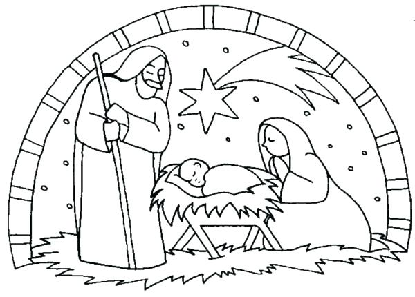 600x430 Printable Nativity Scene Coloring Pages Free Printable Nativity