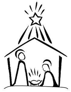236x308 This Nativity Scene Is Drawn With Minimal, Black Outlines, Showing