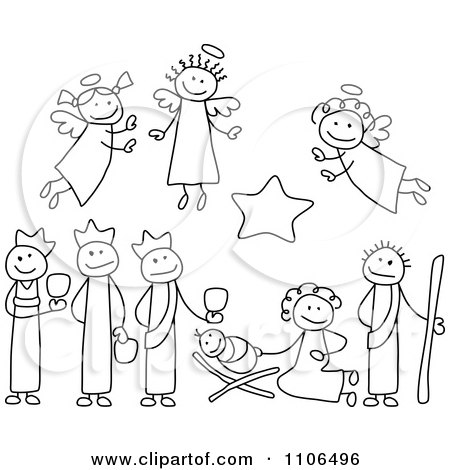 450x470 Clipart Black And White Stick Drawings Of Nativity Scene People