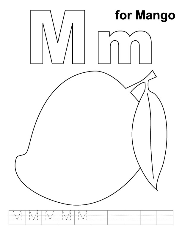 612x792 M For Mango Coloring Page With Handwriting Practice Download