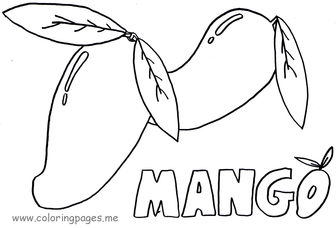 1100x748 Colouring Fruit Mango Mango Tree Coloring Page Dromffp.top