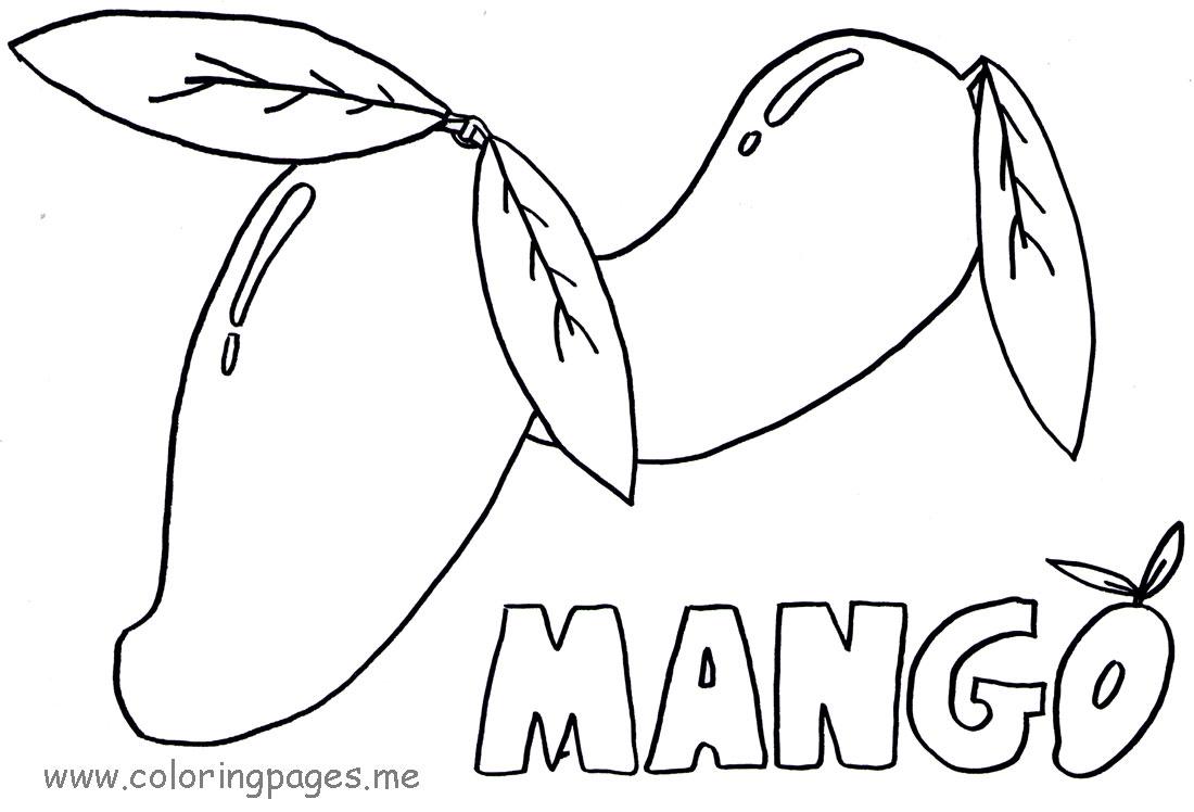 1100x748 Colouring Fruit Mango Tree Coloring Page Dromffptop