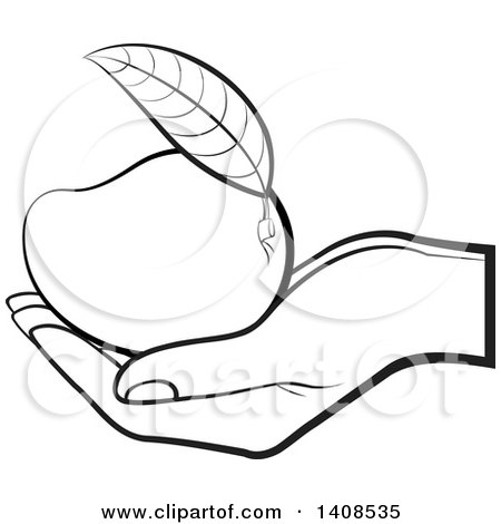 450x470 Clipart Of A Black And White Lineart Hand Holding A Mango