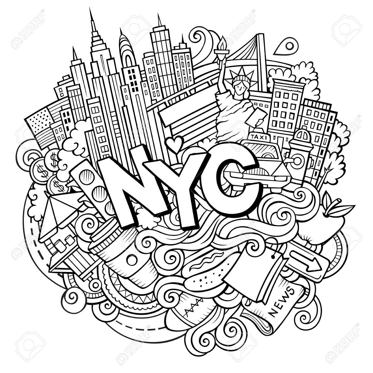 1300x1300 Cartoon Cute Doodles Hand Drawn Nyc Inscription Royalty Free