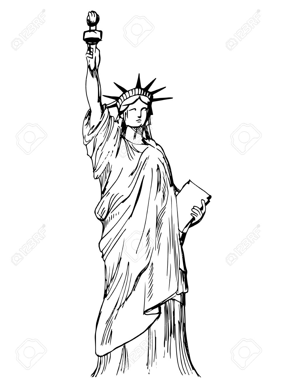 975x1300 Hand Drawn Liberty Statue