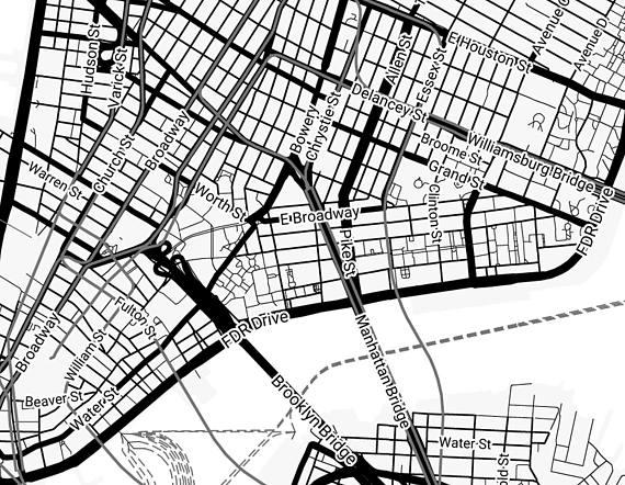 570x442 New York Map New York City Map Print Manhattan Map Print