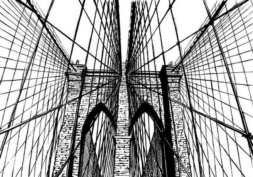 825x577 Adult Coloring Page New York Brooklyn Bridge 17