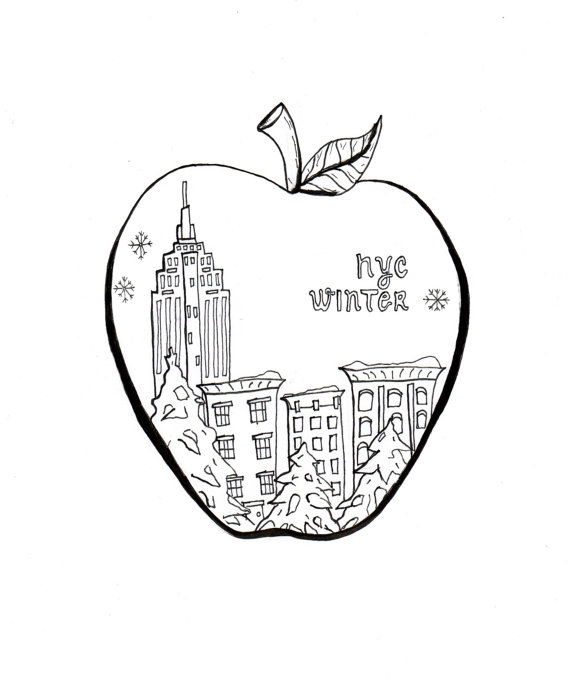 570x684 Nyc Coloring Art, Big Apple, Print And Color, Instant Download