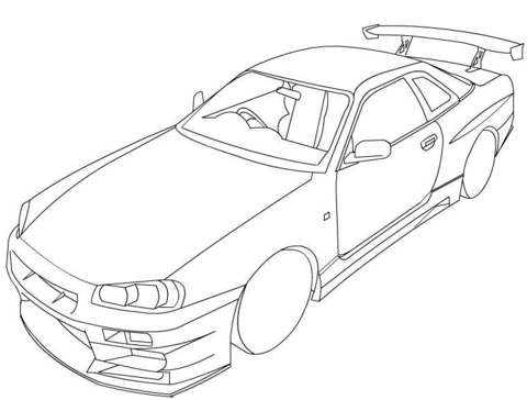 480x364 Skyline Coloring Pages Nissan Skyline R34 Coloring Page Free