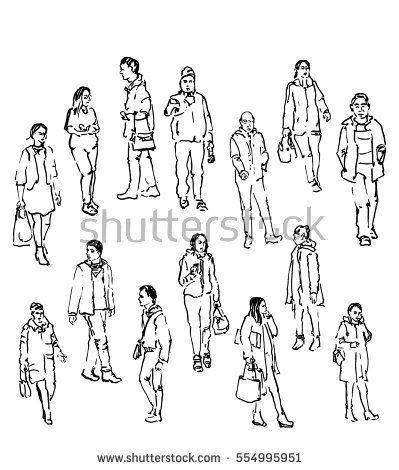 399x470 Vector Sketch Of People, Line Drawing Figures Of Men And Women