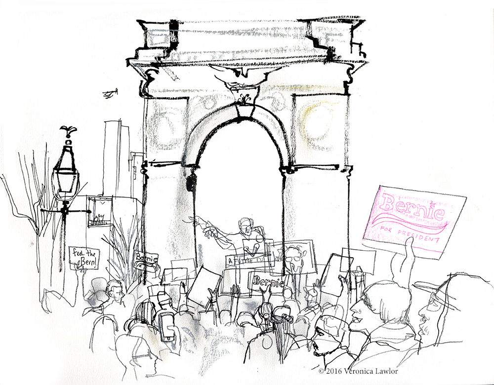 1000x780 Bernie Sanders Political Rally, Nyc Urban Sketchers