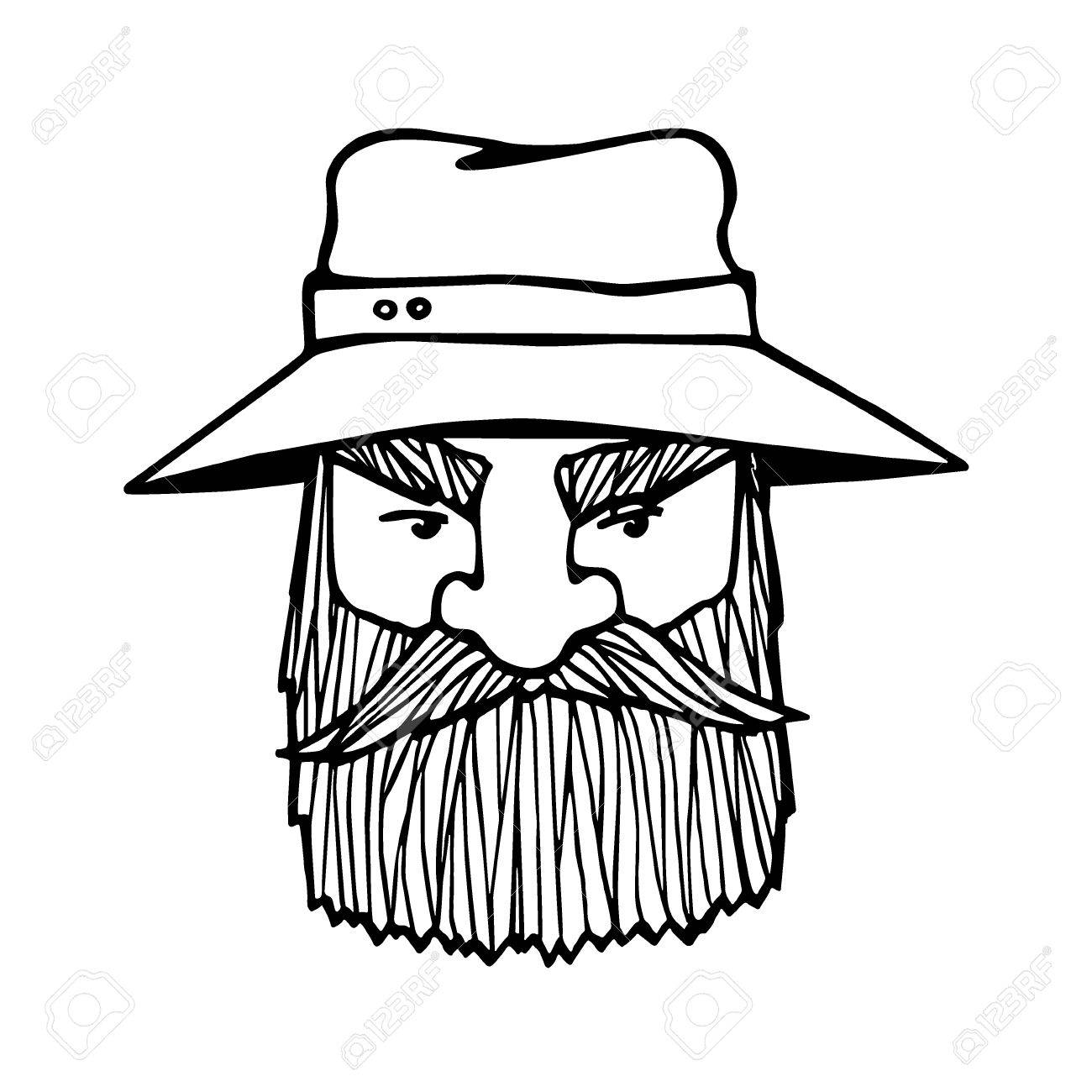 1300x1300 Hand Drawn Head Of Bearded Man With Cap On. Vector Illustration