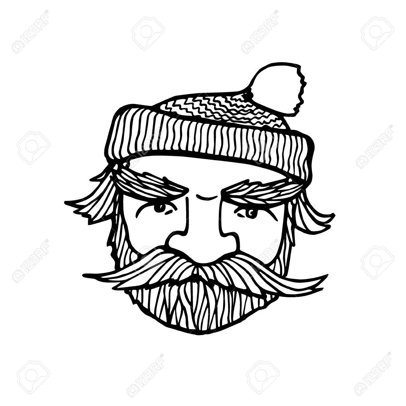 1300x1300 Hand Drawn Head Of Bearded Man With Knitted Cap On. Vector
