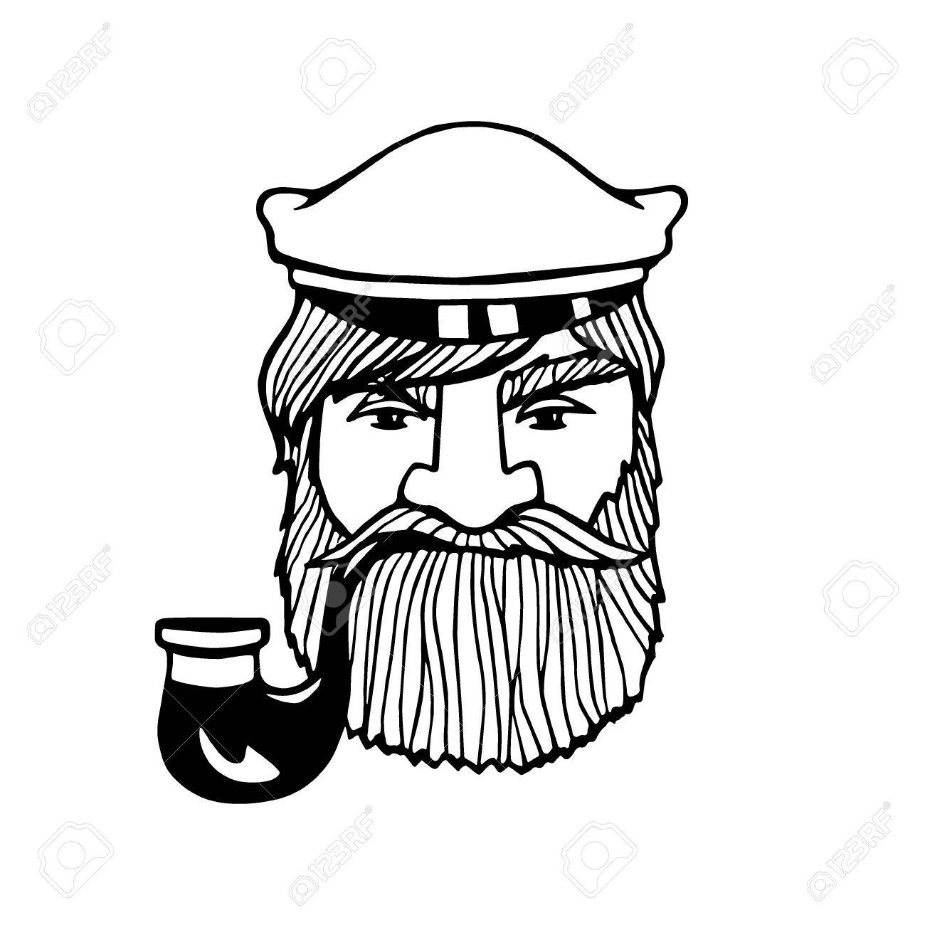 1300x1300 Hand Drawn Head Of Seaman With Smoking Pipe And Peaked Cap. Vector