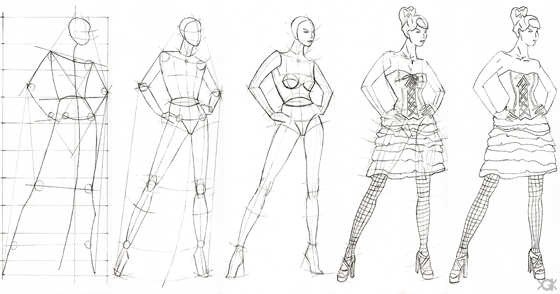 1143x600 Step By Step Fashion Sketches