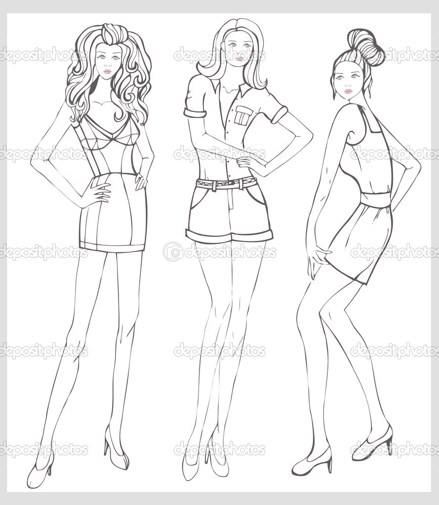 889x1023 Fashion Coloring Pages Hand Drawn Fashion Model Vector