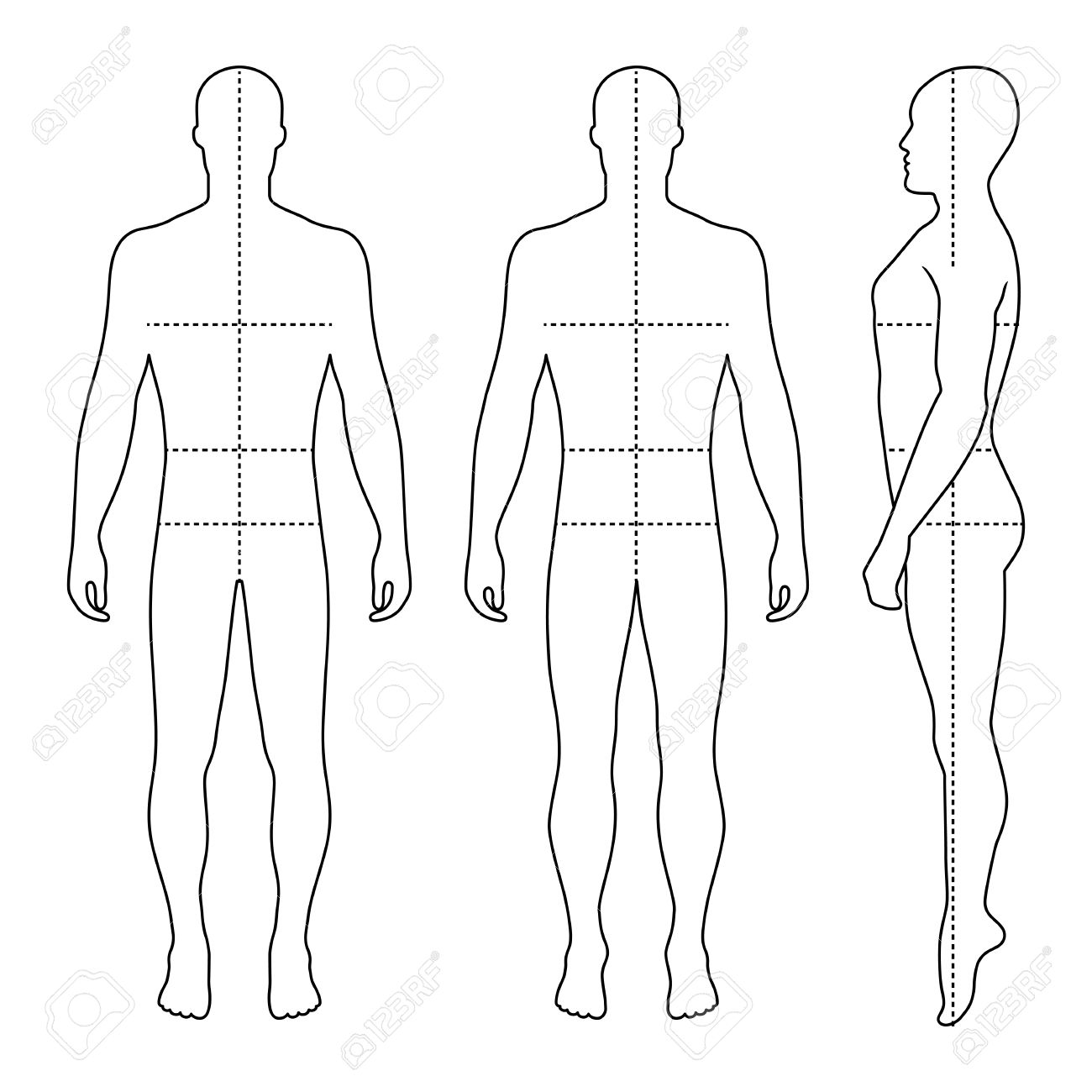 1300x1300 Fashion Bald Man Full Length Outlined Template Figure Silhouette
