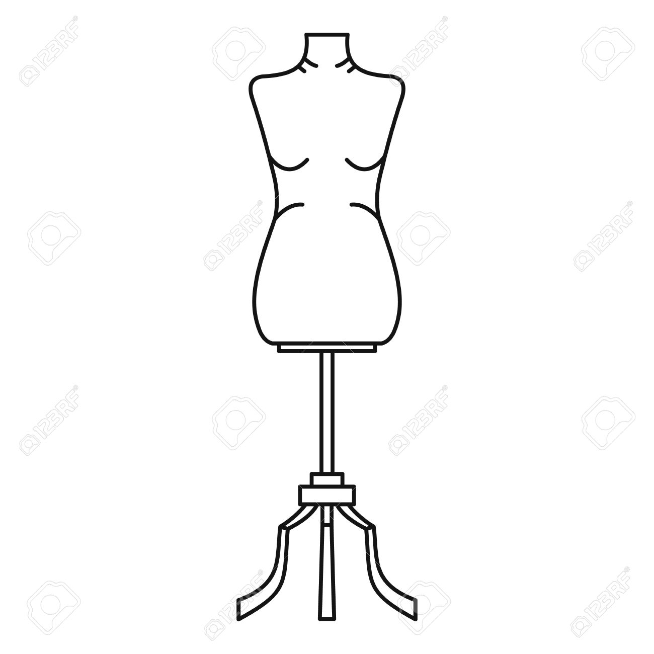 1300x1300 Sewing Mannequin Icon. Outline Illustration Of Sewing Mannequin