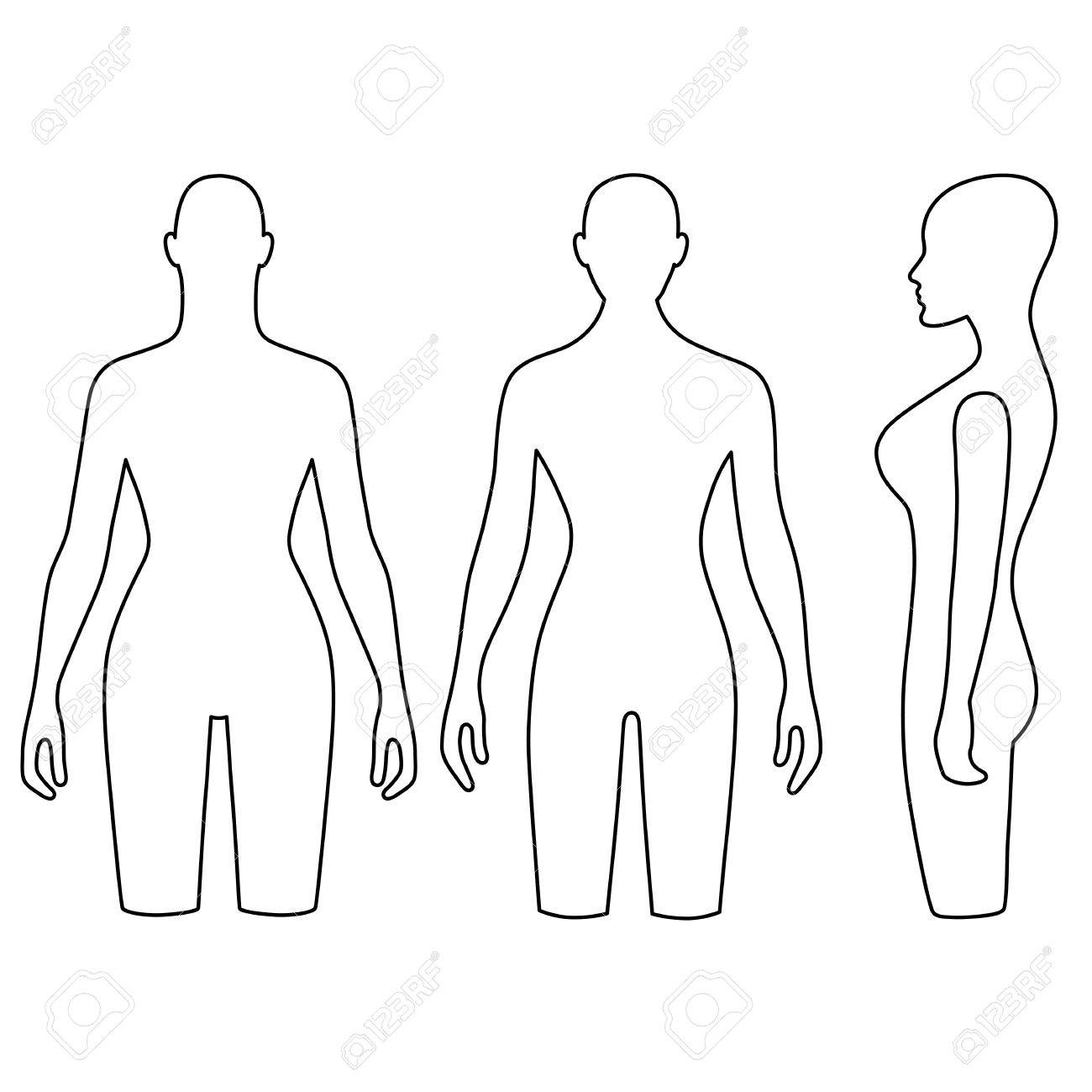 1300x1300 Woman Mannequin Outlined Torso (Front, Back, Side View). Vector