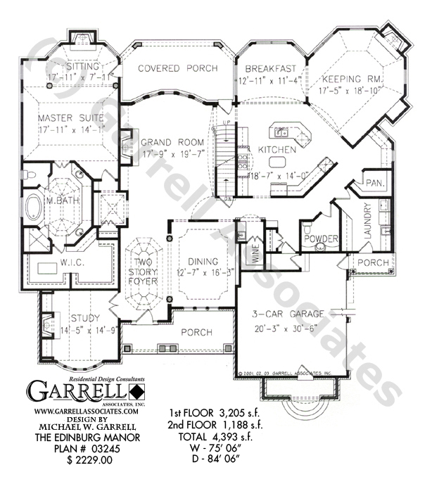 614x688 Edinburg Manor House Plan House Plans By Garrell Associates, Inc.