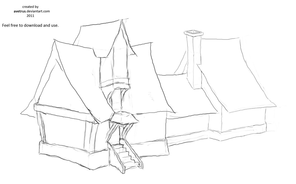 1132x706 Manor House Sketch By Avetrus